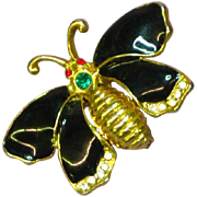 Enamel Black Butterfly Rhinestones Gold Tone Pin Brooch