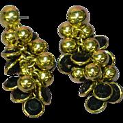 Beautiful Black Gold Cha Cha Dangle Pierced Post Earrings