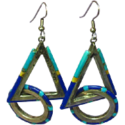 Native American Indian Sterling Silver Multi Shaped Inlayed Turquoise Lapis Pierced Earrings