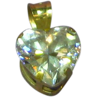 14K Yellow Gold Cubic Zirconia CZ Heart Pendant