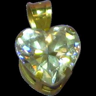 14K Yellow Gold Cubic Zirconia CZ Heart Pendant