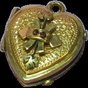 Antique Victorian 10K Gold Genuine Rose Cut Garnets Heart Locket Fob Charm Pendant