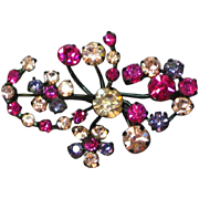 Austria Signed Japanned Rhinestone Brooch Pin