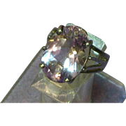 Sterling Silver Genuine Faceted Amethyst Raised Carriage Design Cocktail Ring