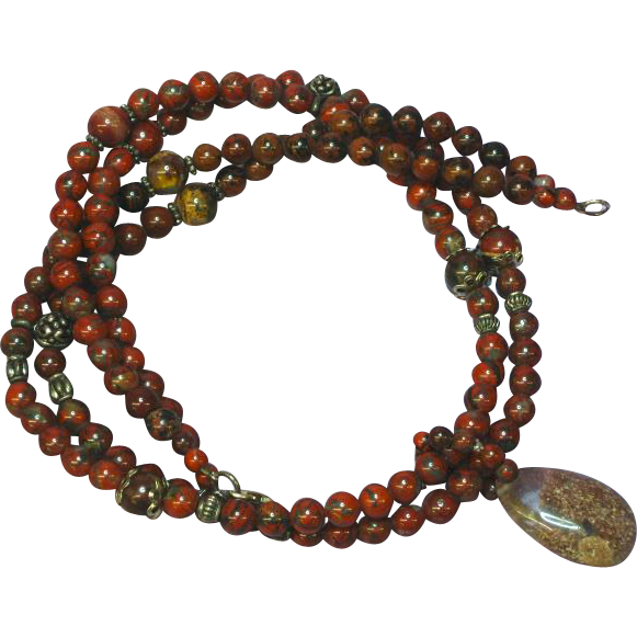 Red Jasper Agate Rutilated Quartz Double Strand OOAK Necklace