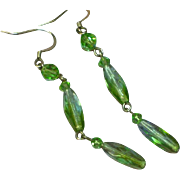 Faceted Green Peridot Crystal Dangle Drop Sterling Silver Pierced Earrings