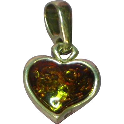 Amber Genuine Cognac Sterling Silver Heart Charm Pendant