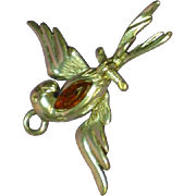 Amber Baltic Sterling Silver Parrot Figural Pendant Charm
