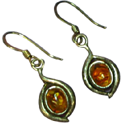 Amber Baltic Sea Sterling Silver Dangle Pierced Earrings