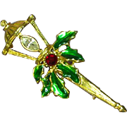 Christmas Colorful Rhinestones Enamel Lantern Brooch Pin