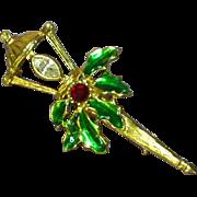 Christmas Colorful Rhinestones Enamel Lantern Brooch Pin