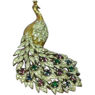 Panetta Signed Peacock Rhinestone Encrusted Brooch Pin