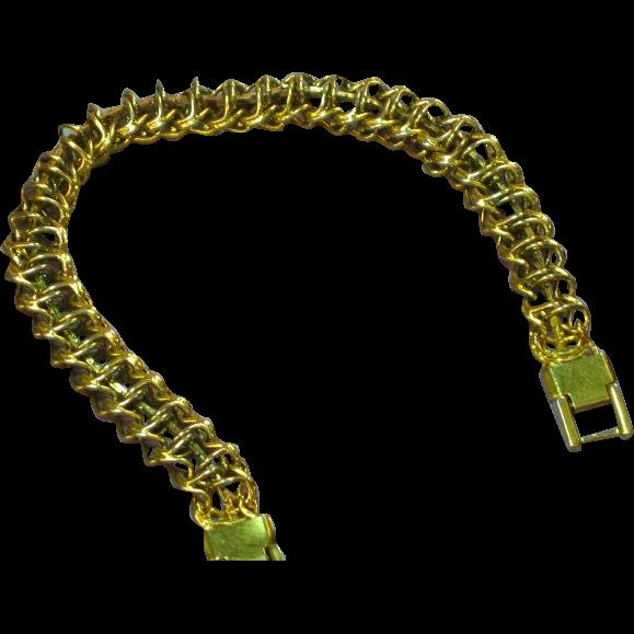 Trifari Marked Trifarium Gold Plate Multi Link Bracelet