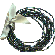 Peacock Blue/Green Seed Bead Set of 12 Bracelets