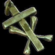 Sterling Silver Late Medieval Style Devotional Cross w/ Cross Bones Pendant