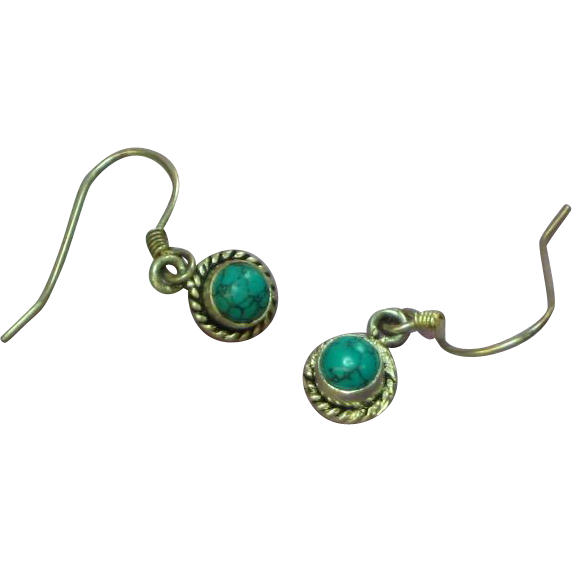 Sterling Silver Genuine Turquoise Drop Style Petite Pierced Earrings