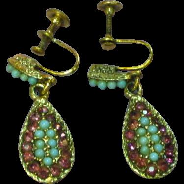 Turquoise Art Glass Amethyst Rhinestones Dangle Drop Screw Back Earrings