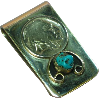 Native American Indian Navajo Buffalo Nickle Turquoise Money Clip
