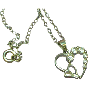 """Sterling Silver CZ Open Double Heart Pendant on 18"""" Sterling Chain Necklace"""