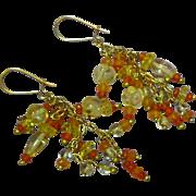 Multi Gem Cluster Carved Citrine Faceted Carnelian Lemon Quartz Gold Filled Dangle Pierced Earrings