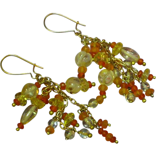 Multi Gem Cluster Carved Citrine Faceted Carnelian Lemon Quartz Gold Filled Dangle Pierced Earrings