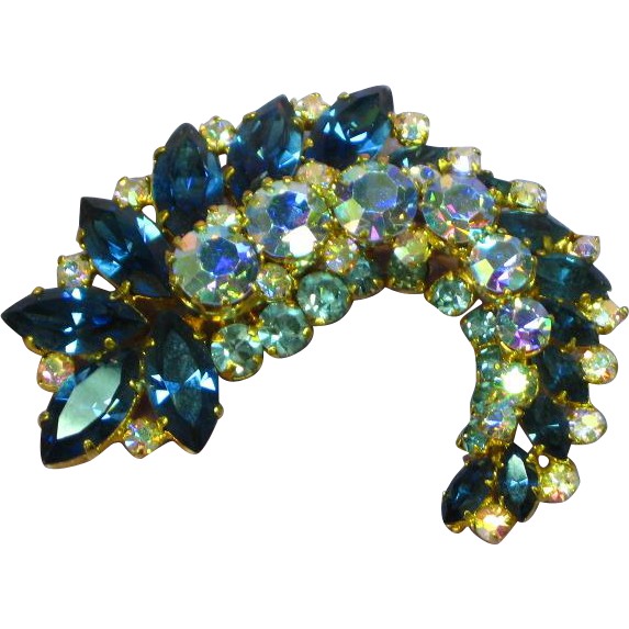 Vintage Signed Austria Rhinestone  Stunning Blues Color Leaf Pin Brooch