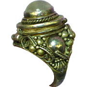 Massive Vintage Etruscan Style Moon Stone Poison Ring