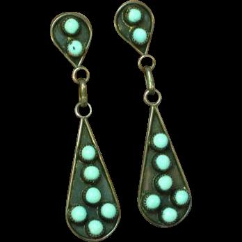 Native American Indian Sterling Silver Sleeping Beauty Turquoise Drop Dangle Pierced Earrings