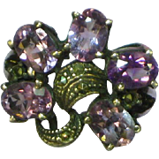 Art Deco Stunning Sterling Silver Amethyst & Marcasite, C.1920's-40's Ring