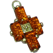 Amber Genuine Natural Sterling Silver Cross Charm Pendant
