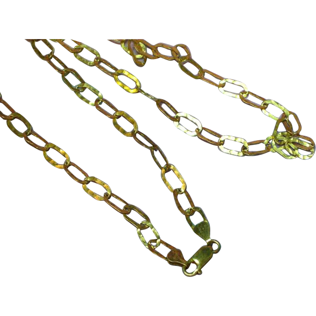 ITAOR Marked Italian Sterling Silver Vermeil Hammered Link Chain Necklace