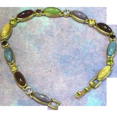 Liz Clairborne Art Glass Rhinestones Gold Plated Line Bracelet