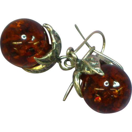 Amber Genuine Baltic Ornate Sterling Silver Dangle Pierced Earrings