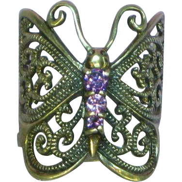 Gemstones Sterling Silver Amethyst Fancy Butterfly Design Band Ring