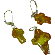 Amber Natural Genuine Honey Color Carved Cross Pendant Sterling Silver Pierced Earrings Set