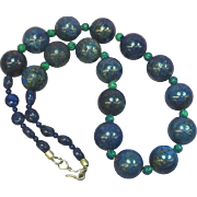 Lapis Lazuli Beads Carved Azurite Beads Necklace