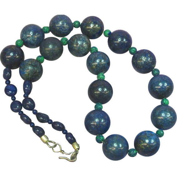 Lapis Lazuli Beads Carved Azurite Beads Necklace