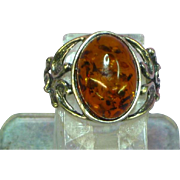 Amber Genuine Natural Vintage Sterling Silver Designer Signed Ring