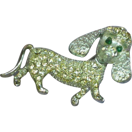 Rhinestones Vintage Silver Tone Fancy Domed Poodle Dog Articulated Trembler Pin Brooch