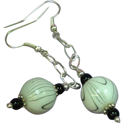 Dazzling Venetian Art Glass, Murano Glass Beads Dangle Pierced Earrings