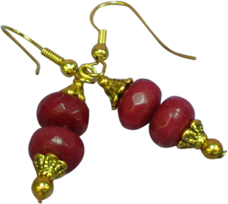 Gemstones Stunning Natural Brazilian Faceted Ruby Rondelle Bead Dangle Pierced Earrings