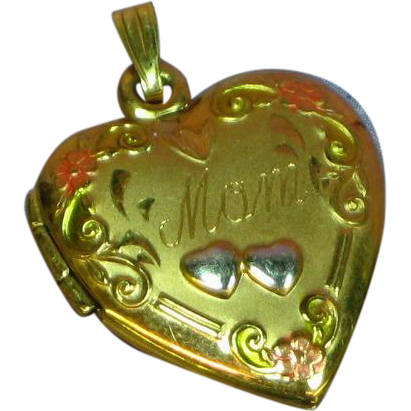 10K Rose Gold Flowers Embellished Gold Filled Heart Locket Pendant