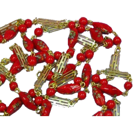 Venetian Millefiori Bead Chinese Red 1920s Deco Long Necklace