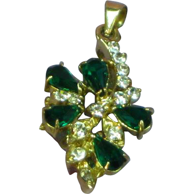 Rhinestones 14 Karat Gold Plate Faux Emerald Necklace Pendant
