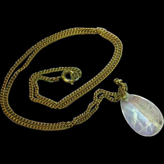 Early Vintage Reverse Carved Crystal Oriental Design Pendant Necklace
