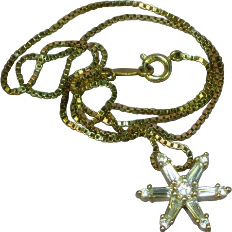 Nadri Marked Crystal Snowflake Ultimately Brilliant Sterling Silver Gold Vermeil CZ Necklace