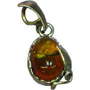 Baltic Genuine Amber in Sterling Silver  Unique Pendant