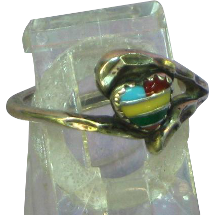 Native American Indian Zuni Crafted Intarsia Gemstone Inlay Heart Petite Ring