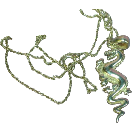 Outstanding Vintage Sterling Silver Asian Dragon Necklace