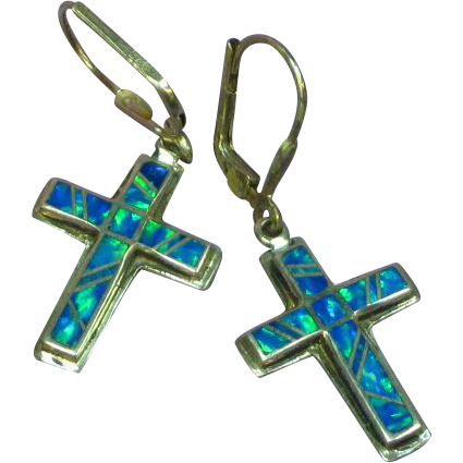 Native American Indian Sterling Silver Cross Opal Inlay Pierced Dangle Earrings